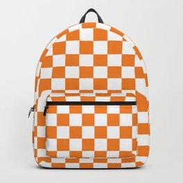 Orange Checkerboard Pattern Backpack