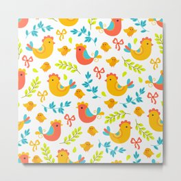 Easter Little Peeps Baby Chicks Pattern Metal Print
