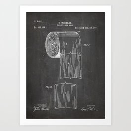 Toilet Paper Patent - Bathroom Art - Black Chalkboard Art Print
