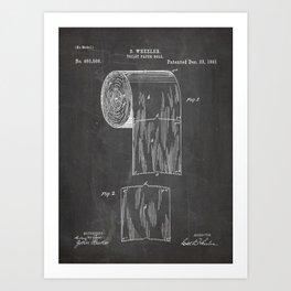 Toilet Paper Patent - Bathroom Art - Black Chalkboard Art Print