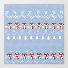 Fox Christmas Sweater Pattern Canvas Print