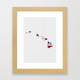 Hawaii Typographic Flag Map Art Framed Art Print