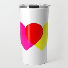 Love hearts (pink & yellow) Travel Mug