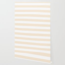 Antique white -  solid color - white stripes pattern Wallpaper