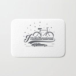 Bicycle with stars and small car Bath Mat