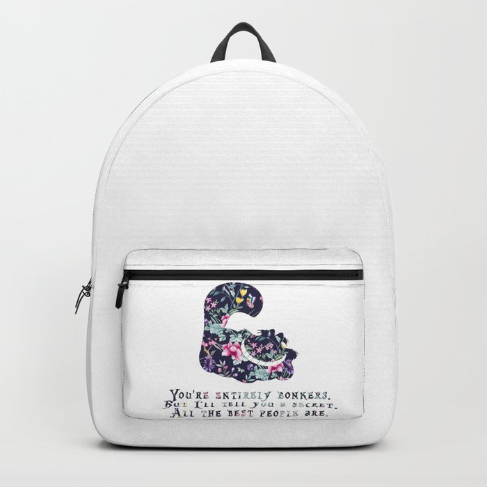 Alice floral designs - Cheshire cat entirely bonkers Backpack