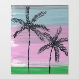 two palm trees sunset sky Canvas Print
