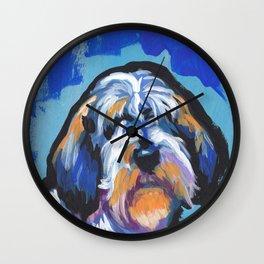 Fun PBGV Petit Basset Griffon Vendéen Dog bright colorful Pop Art Wall Clock