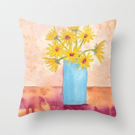 Sunshine in Blue Throw Pillow