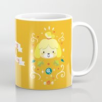 animal crossing Mugs featuring Animal Crossing: Isabelle by Anth Rodi