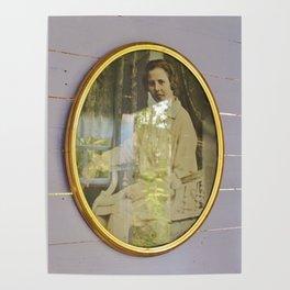 Lady portrait in golden frames Poster