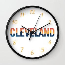 Cleveland Ohio Pride Illustration Wall Clock