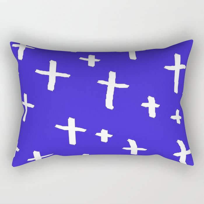 blue white cross Rectangular Pillow