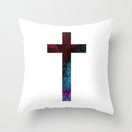 Christian Cross - Watercolor Geometric Pattern Throw Pillow