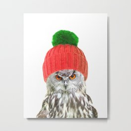 Owl with cap winter holidays Metal Print