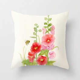 Watercolor Flower Pink Hollyhock and Bee Throw Pillow