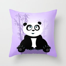 Panda Girl - Purple Throw Pillow