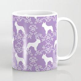 French Bulldog floral minimal purple and white pet silhouette frenchie pattern Coffee Mug