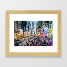 Times Square Tourists Framed Art Print