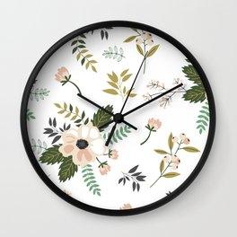 Winter floral - snowy blush petals Wall Clock