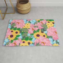 Trendy Pink Peonies Yellow Sunflowers Watercolor paint Rug