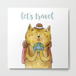 cat traveler Metal Print