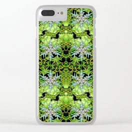 GREEN AURORA WINTER SNOWFLAKES PATTERN Clear iPhone Case