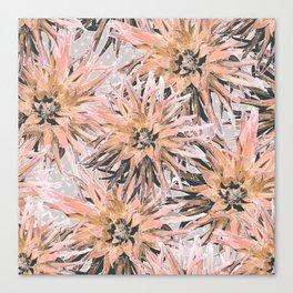 Peach with gray dahlias Canvas Print