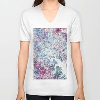 baltimore V-neck T-shirts featuring Baltimore by MapMapMaps.Watercolors