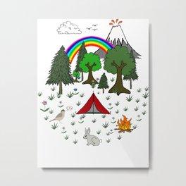 Cartoon Camping Scene Metal Print