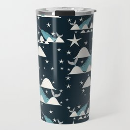 narwhal in ocean blue Travel Mug
