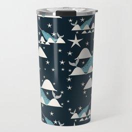 narwhal in ocean blue Travel Mug