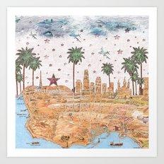 Los Angeles skyline vintage map Art Print