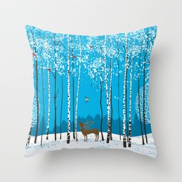 Birch trees with herds of bullfinches and various animals around a winter forest Throw Pillow
