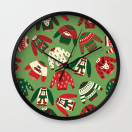 Ugly Christmas Sweaters Pattern Wall Clock