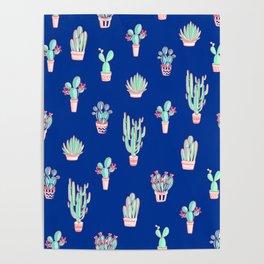 Little cactus pattern - Princess Blue Poster