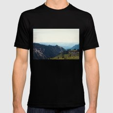 Sunny Mountain MEDIUM Black Mens Fitted Tee