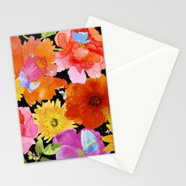 Watercolor Flowers on Black Stationery Cards