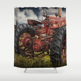 Abandoned Old Farmall Tractor in a Grassy Field on a Farm Shower Curtain