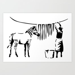 Banksy, A Woman Washing Zebra Stripes Artwork Reproduction, Posters, Tshirts, Prints Art Print