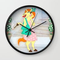 shopping Wall Clocks featuring Shopping Unicorn by That's So Unicorny