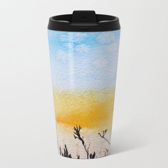 Summer sunrise in watercolor Metal Travel Mug