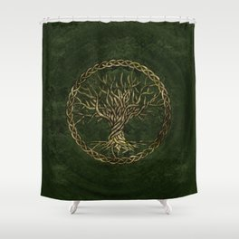Tree of life -Yggdrasil -green and gold Shower Curtain