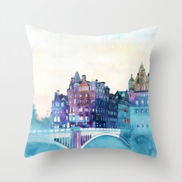 Winter in Edinburgh Throw Pillow