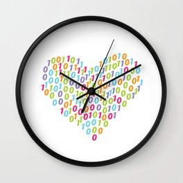 Binary Heart Colorful Wall Clock