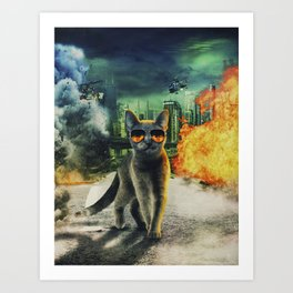 Adorable Dangerous Cat - The City Destroyer Art Print