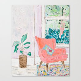 A Room with a View - Pink Armchair by the Window Canvas Print