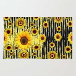 YELLOW ART DECO SUNFLOWERS BLACK ABSTRACT DESIGN Rug