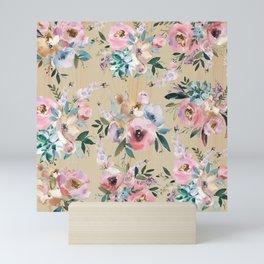 Pastel pink teal green watercolor pine wood floral Mini Art Print