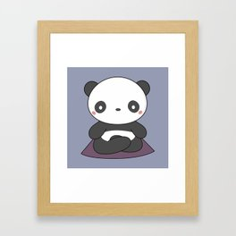 Kawaii Cute Yoga Panda Framed Art Print